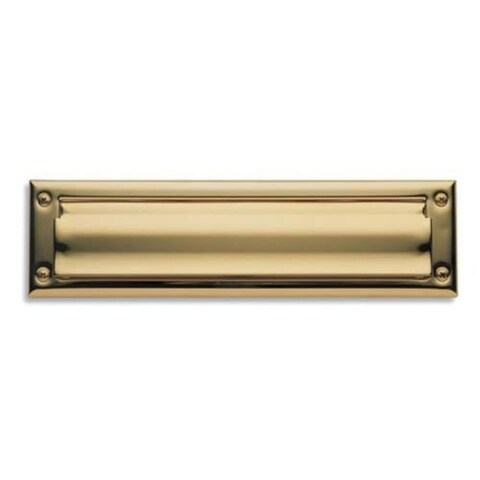 Baldwin 14 Package Sized Spring Tension Brass Letter Box Plate with Hinged Interior Cover