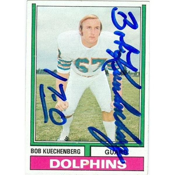 Shop Bob Kuechenberg Autographed Football Card Miami Dolphins 1974