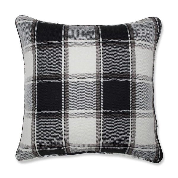 "18"" Gray and Black Checkered Pattern Decorative Square Throw Pillow"
