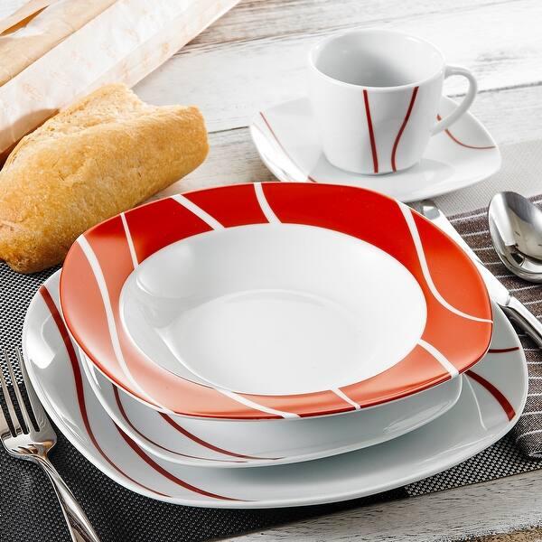 Malacasa Felisa 30 Piece Red Stripes Dinner Sets Service For 6 On Sale Overstock 31930836