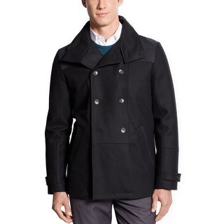Calvin Klein CK Wool Blend Peacoat X-Large Coat Solid Black Quilted Lining