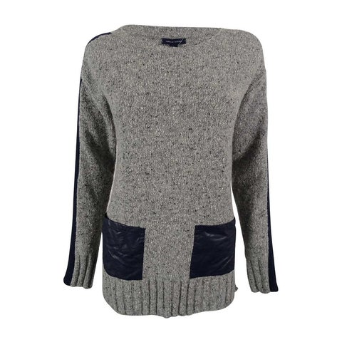 Tommy Hilfiger Women's Faux-Leather Pocket Tunic Sweater