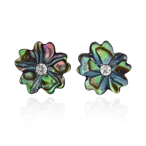 Handmade Shimmering Flower Shaped Abalone Shell with Inlaid Crystal Stud Earrings (Thailand)