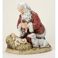 "13"" Joseph's Studio Kneeling Santa with Baby Jesus Christmas Figure - Multi"