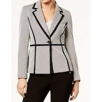 Nine West Beige Black Womens Size 8 Shimmer Contrast-Trim Jacket