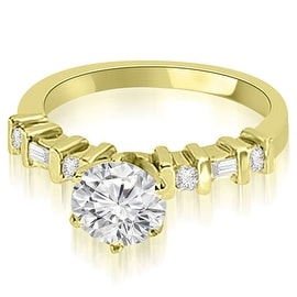 0.95 cttw. 14K Yellow Gold Round and Baguette Diamond Engagement Ring