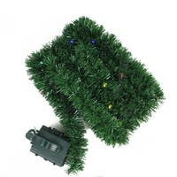 18' Pre-Lit B/O Green Pine Artificial Christmas Garland - Multi LED Twinkle Lights