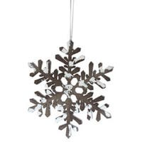 "6"" Snowy Winter Glitter Tipped Brown and White Snowflake Decorative Christmas Ornament"