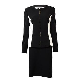 Tahari Women's Miami Mood Colorblocked Zip Skirt Suit - 10