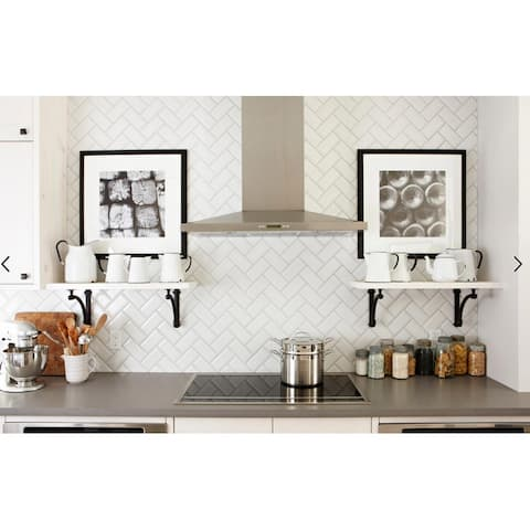 "Art3d 3""x 6"" Peel and Stick Glass Tiles for Kitchen Backsplash, Subway Backsplash Tiles"
