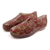 Red Green US 7.5 Low Heel Slip Resistant Waterproof Rain Boots Wellies Shoes