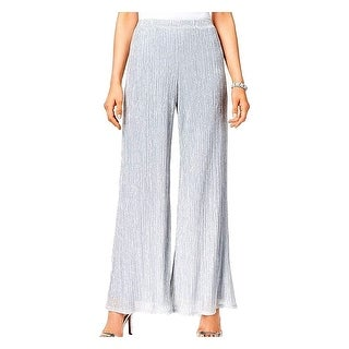 MSK Silver Womens Size XL Metallic Stretch-Knit Palazzo Pants
