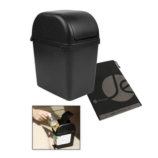 JAVOedge Black Small Trash Can with Latch Grip to Attach to Car Carpet plus Bonus Drawstring Storage Bag