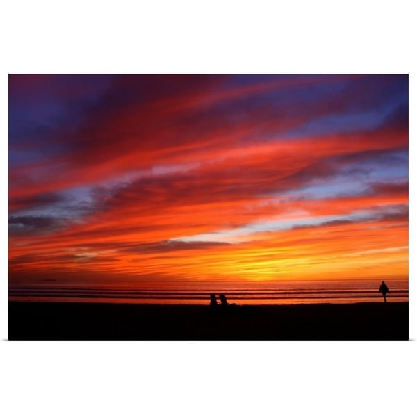 """""""Very colorful sunset at Silver Strand State Beach"""" Poster Print"""