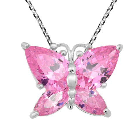 Handmade Sparkling Flutter Butterfly Pink Cubic Zirconia Sterling Silver Pendant Necklace (Thailand)