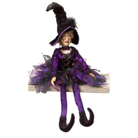 """31.5"""" Whimsical Purple and Black Posable Halloween Witch Autumn Decor"""