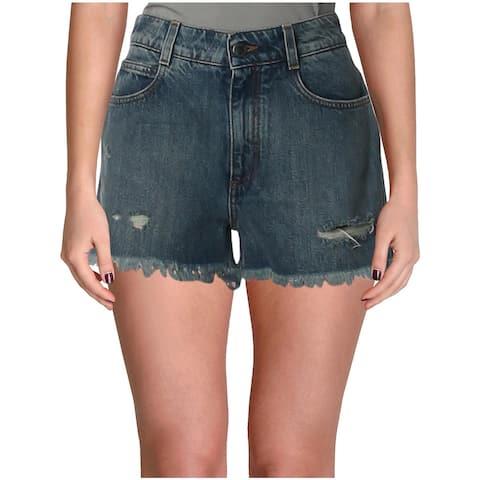 Stella McCartney Womens Denim Shorts Medium Wash Distressed