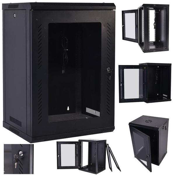 Costway 18U Wall Mount Network Server Data Cabinet Enclosure Rack Glass Door  Lock W/ Fan