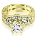 1.00 cttw. 14K Yellow Gold Antique Cathedral Round Cut Diamond Engagement Set - Thumbnail 0