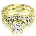 1.25 cttw. 14K Yellow Gold Antique Cathedral Round Cut Diamond Engagement Set - Thumbnail 0