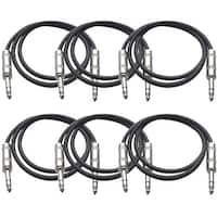 "SEISMIC AUDIO  6 PACK Black 1/4"" TRS 2' Patch Cables"