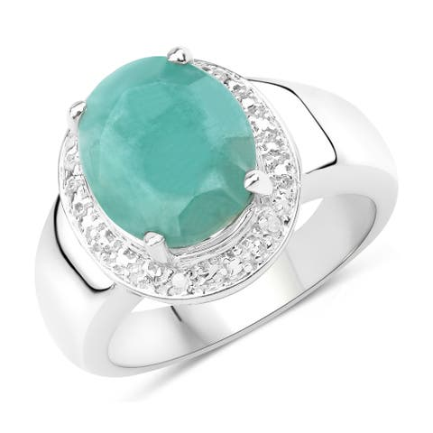 4.72 Carat Genuine Emerald and White Diamond .925 Sterling Silver Ring