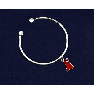 Heart Disease Awareness Open Bangle Bracelet