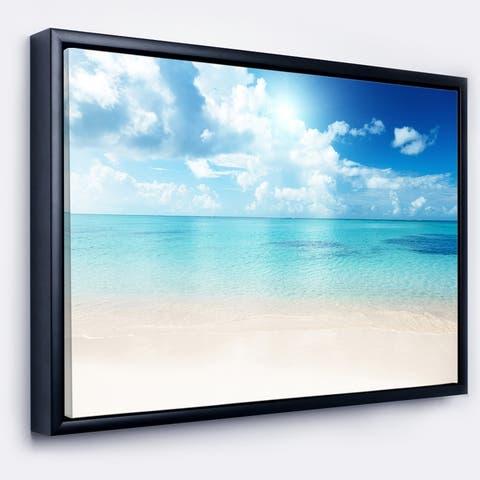 Designart 'Sand of Beach in Blue Caribbean Sea' Modern Seascape Framed Canvas Artwork Print