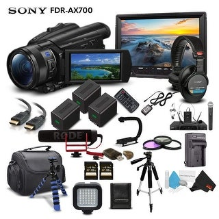 Sony Handycam FDR-AX700 4K HD Video Camera Camcorder Intl Model + 2 Extra Batteries and Charger + 128GB Memory Card + Mic