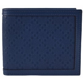 New Gucci Men's 225826 Blue Leather Diamante Bifold Wallet