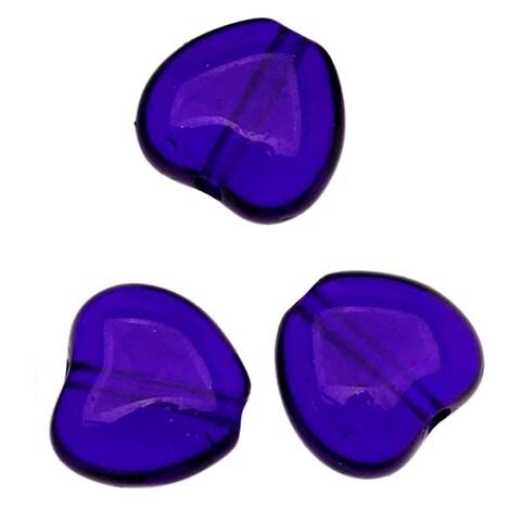 Czech Pressed Glass - Heart Shaped Beads 8.5x7.5mm Cobalt (25)