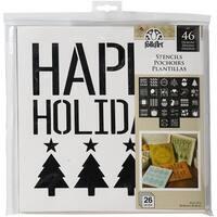 "Folkart Paper Stencil Value Pack 12""X12"" 26/Pkg-Holiday"