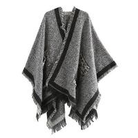 QZUnique Women Pullover Cardigan Cloak Shawl Loose Poncho Sweater Cape