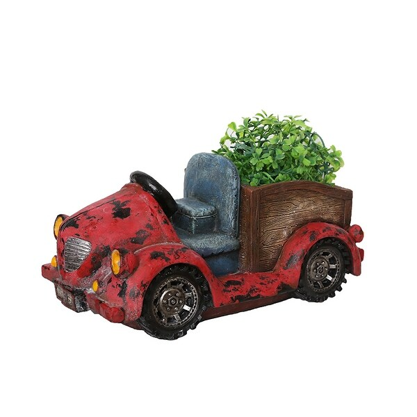"""14.5"""" Distressed Red Vintage Car LED Lighted Solar Powered Outdoor Garden Patio Planter"""