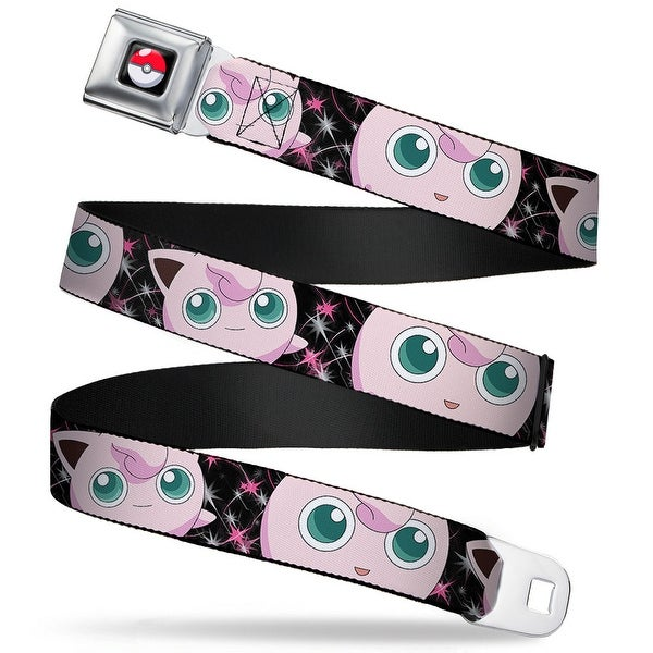 Pok Ball Full Color Black Jigglypuff 2 Poses Sparkle Swirls Black Pink Seatbelt Belt