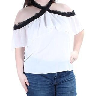BAR III $59 Womens New 1223 White Black Cold Shoulder Fringed Top XXL B+B