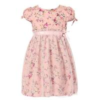 Richie House Girls' Short Sleeve Floral Dress