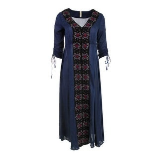 Free People Womens Embroidered Boho Casual Dress