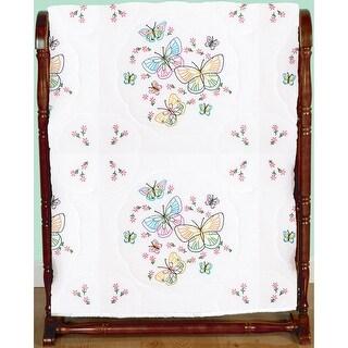 "Stamped White Quilt Blocks 18""X18"" 6/Pkg-Fluttering Butterflies"