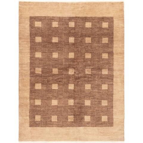 ECARPETGALLERY Hand-knotted Ziegler Chobi Tan Wool Rug - 5'2 x 6'10