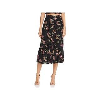 Lost + Wander Womens Midi Skirt Flounce Floral