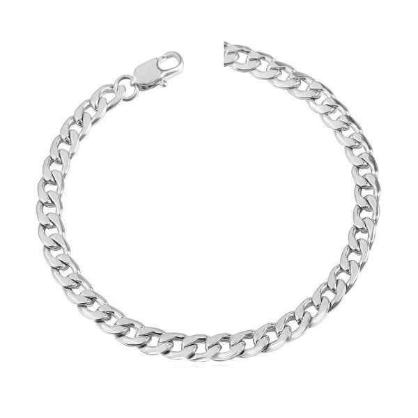 Mcs Jewelry Inc 14 KARAT WHITE GOLD CURB CUBAN BRACELET 5.7MM (8.5 INCHES)