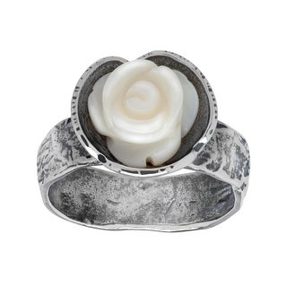 Mother-of-Pearl Rose Ring in Sterling Silver - White