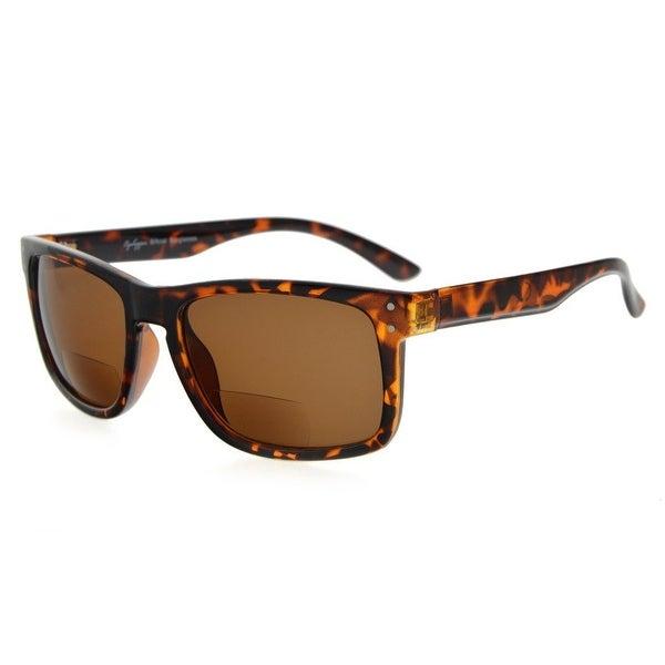 Eyekepper Bifocal Sunglasses Men Women (Tortoise Frame, Brown Lens +2.0)