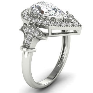 Link to 1.34 CT Antique Round & Pear Diamond Halo Ring 1 CT Center in 14KT Similar Items in Wedding Rings