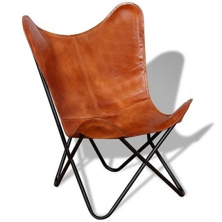 Link to vidaXL Butterfly Chair Brown Real Leather Similar Items in Living Room Chairs