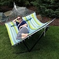 Sunnydaze 2-Person Quilted Hammock with Spreader Bars and Detachable Pillow - Hammock Stand Included - Thumbnail 39