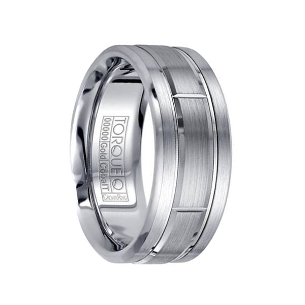 Titanium Black With Diamonds Beveled Edge 7 Mm Polished Wedding Band Available In Various Designs And Specifications For Your Selection Engagement & Wedding