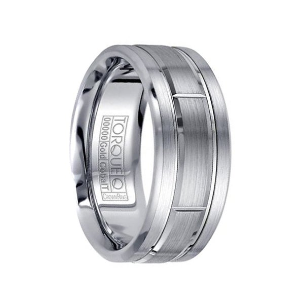 Brushed White Cobalt Men's Wedding Band with Grooved 14k White Gold Inlay Design Polished Edges by Crown Ring - 9 mm