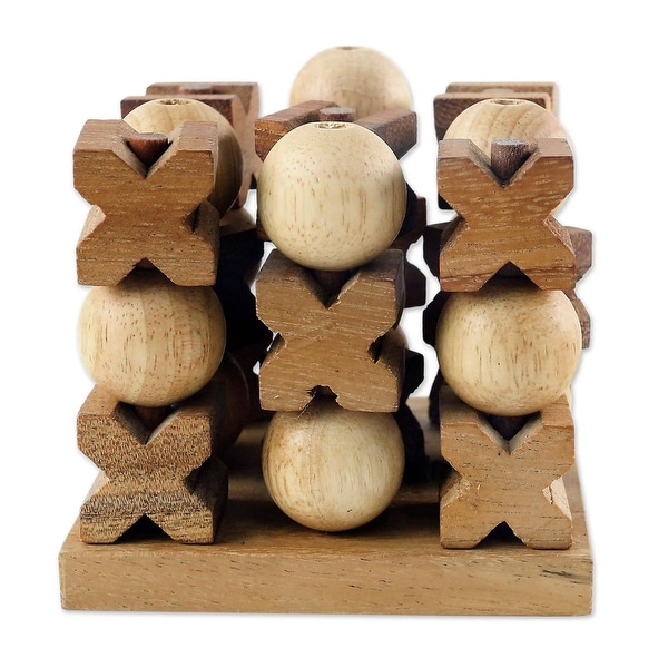 Handmade Wood Game 3D Tic Tac Toe (Thailand). Opens flyout.